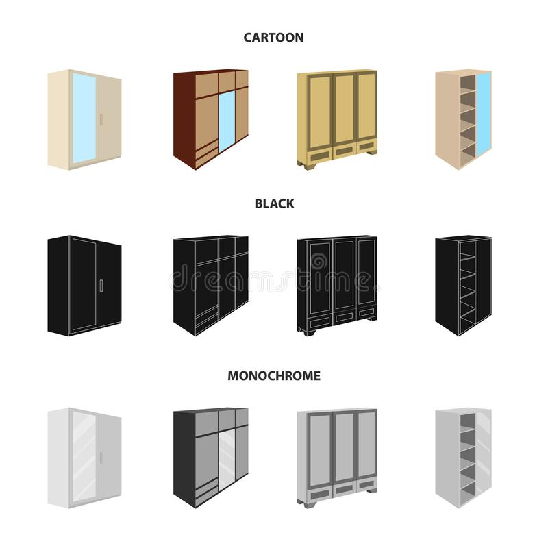 Wardrobe with mirror, wardrobe, shelving with mezzanines. Bedroom furniture set collection icons in cartoon,black. Monochrome style vector symbol stock royalty free illustration