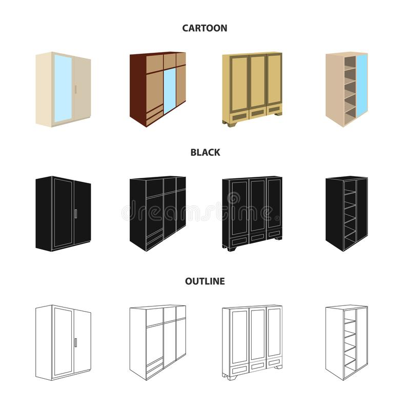 Wardrobe with mirror, wardrobe, shelving with mezzanines. Bedroom furniture set collection icons in cartoon,black. Outline style vector symbol stock royalty free illustration