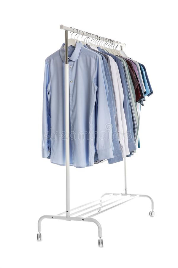 Wardrobe rack with men clothes royalty free stock photography