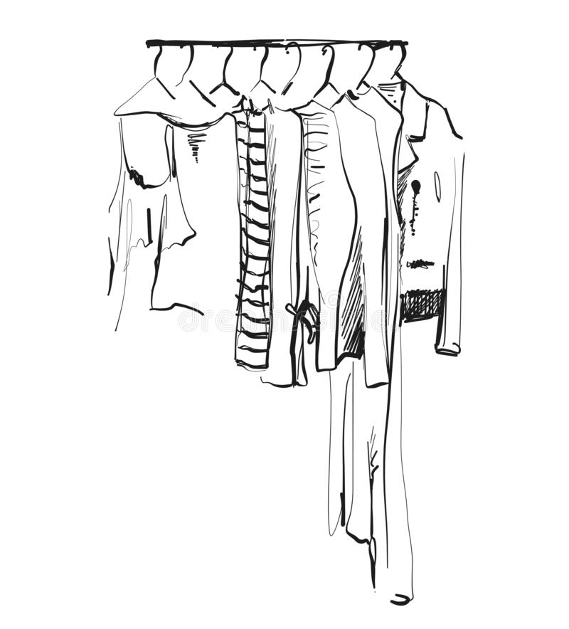 Wardrobe sketch. Clothes on the hangers. Coat and dress stock photo