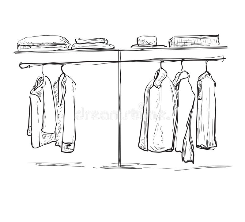 Wardrobe sketch. Hallway interior with clothes. royalty free illustration