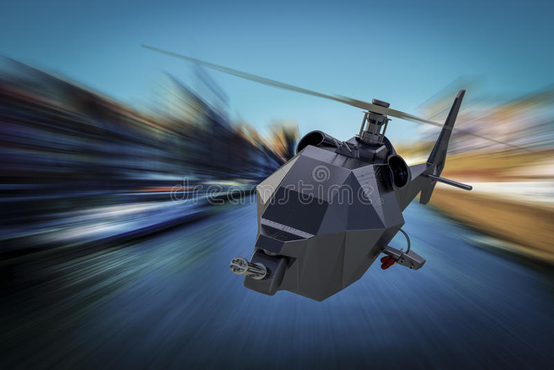 WarDronehelikopter - Onbemande Luchtvoertuighommel tijdens de vlucht vector illustratie