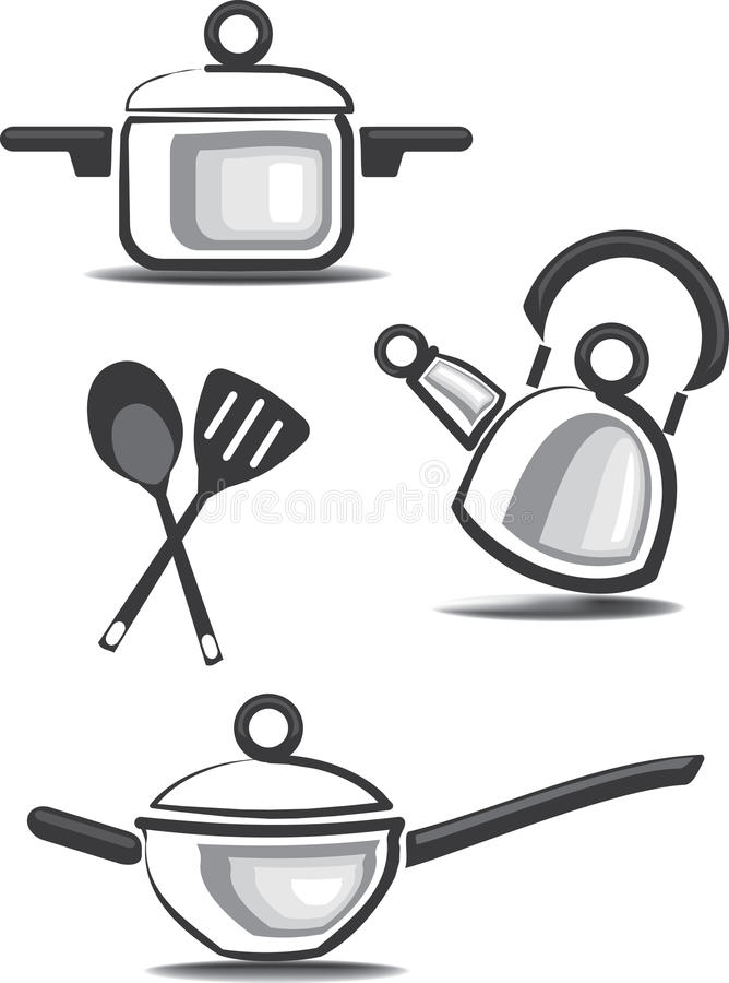 Download Ware And Accessories For Kitchen Icons Stock Vector - Illustration: 16216204