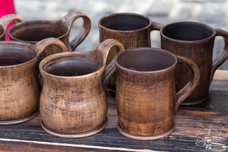 Ware from clay on the counter. Craft royalty free stock images