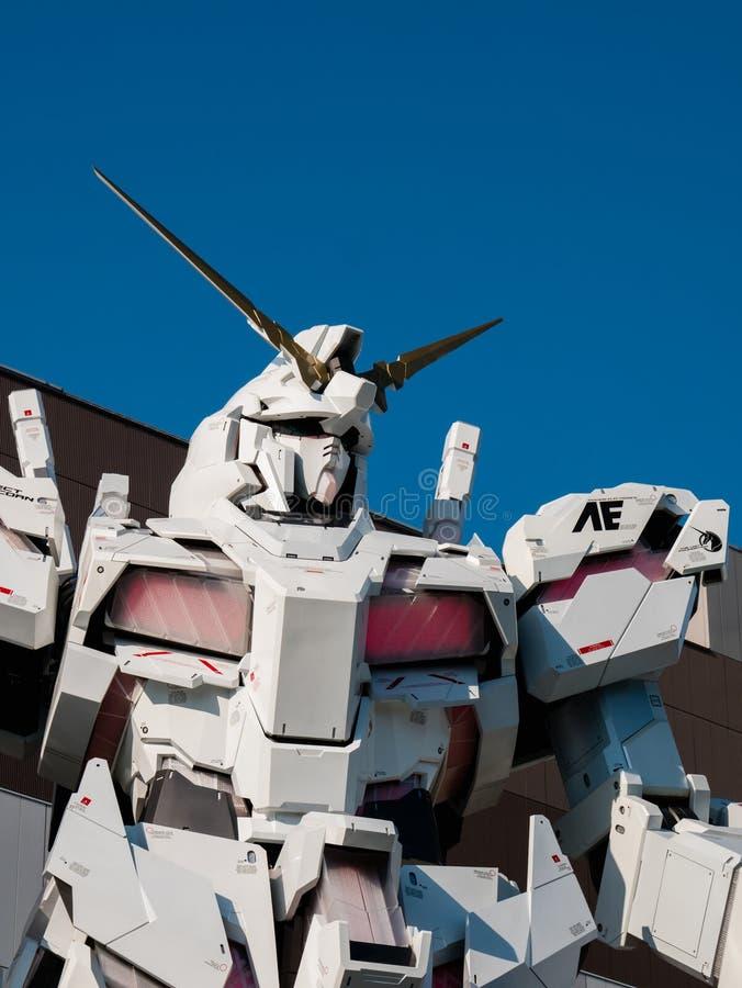 Ware grootte van rx-0 Unicorn Gundam bij Duiker City Tokyo Plaza in Od stock foto