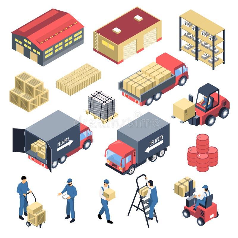 Ware House Isometric Icons Set royalty free illustration