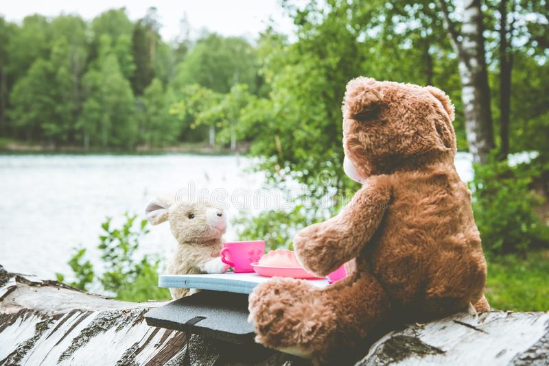 Ware vrienden - het konijn en de kleine beer zitten op het gras tijdens een picknick in een park stock foto's
