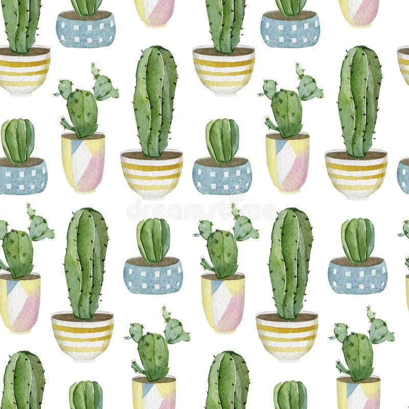 Warecolor seamless pattern with house plants in pots 用于包装纸、壁纸装饰、纺织织物的植物收藏 库存例证