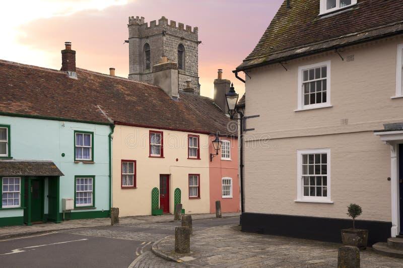 Wareham, Dorset. Cottages and church at Wareham, Dorset, England royalty free stock image
