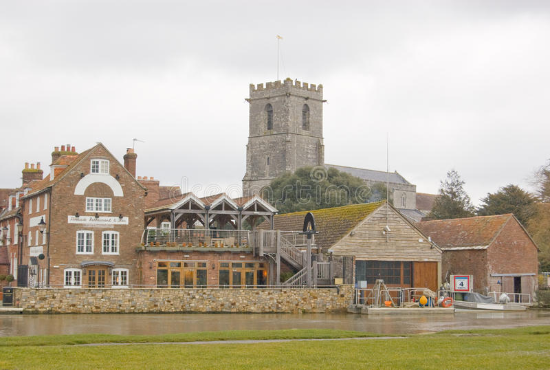 Wareham viewed across the River Frome. A view of the Dorset town of Wareham from the banks of the River Frome stock photography