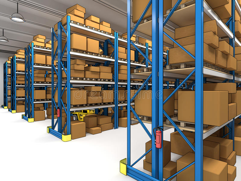Warehouse 3d royalty free illustration