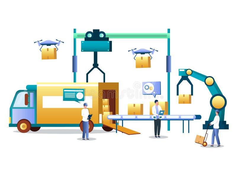 Warehouse automation technology and logistics vector concept illustration vector illustration