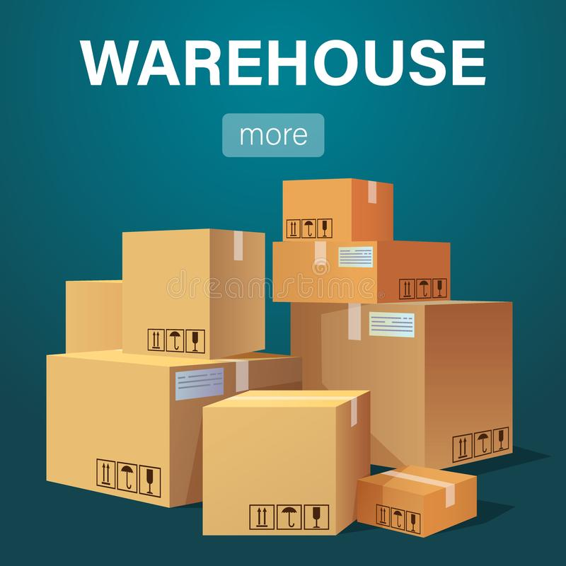 Warehouse banner with pile of stacked sealed goods cardboard boxes. Flat style vector illustration royalty free illustration