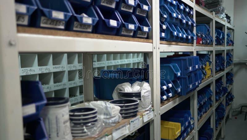 Warehouse Blue Boxes. Factory Store Shelfs Descriptions royalty free stock photos