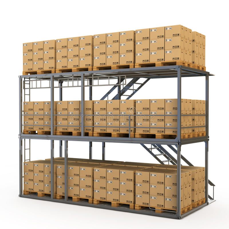 Warehouse with boxes royalty free illustration
