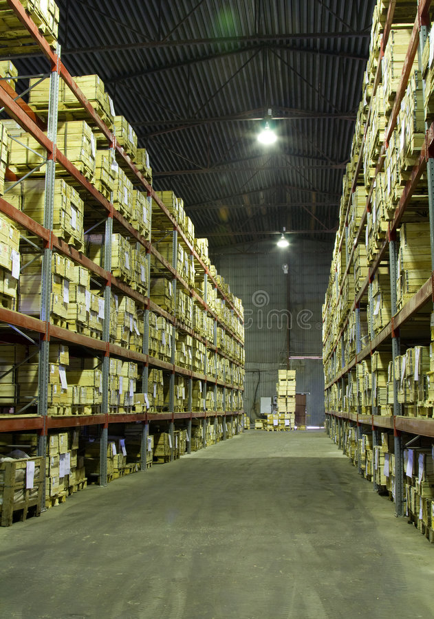 Warehouse with boxes royalty free stock images