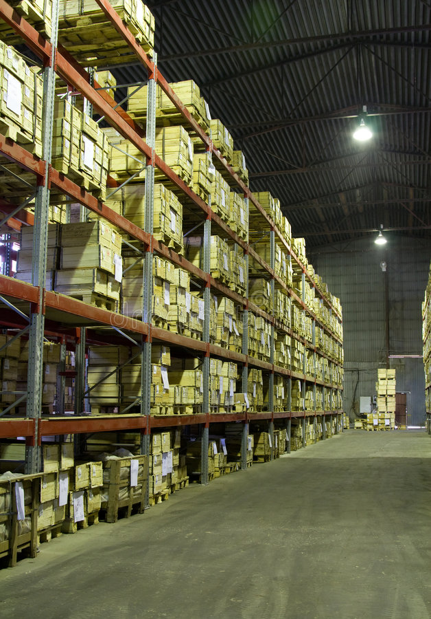 Download Warehouse with boxes stock image. Image of indoors, compartment - 5375013