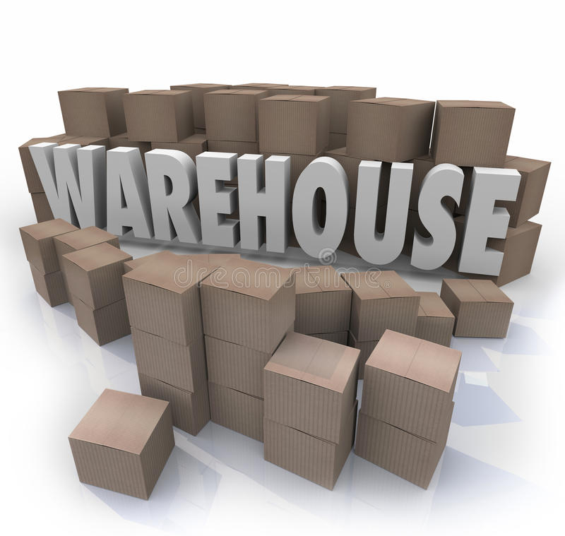 Warehouse Boxes Inventory Management Storage. Warehouse word in 3d letters surrounded by cardboard boxes to illustrate inventory management stock illustration
