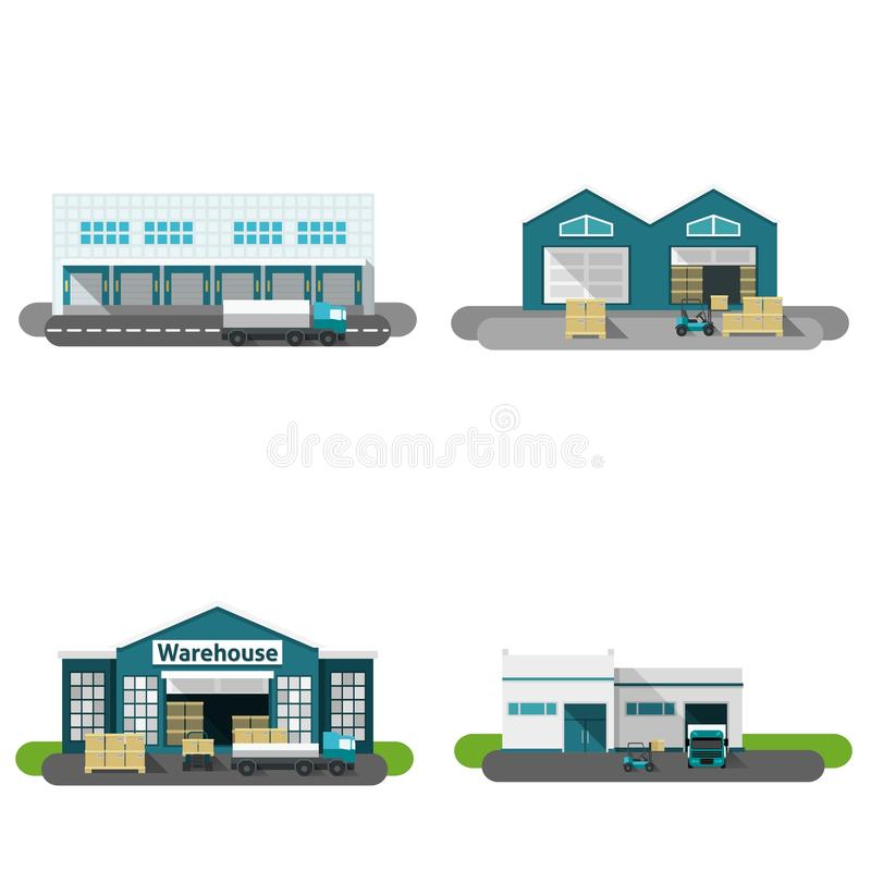 Warehouse Building Flat royalty free illustration