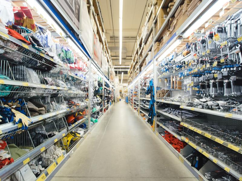 Warehouse of building materials in industiral store stock photo