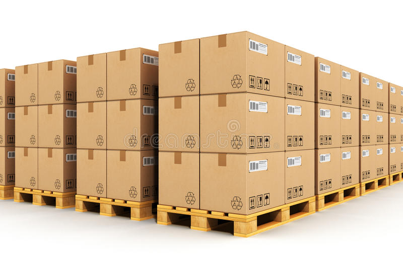 Warehouse with cardbaord boxes on shipping pallets. Creative abstract shipment, logistics, delivery and product distribution business industrial concept: storage vector illustration