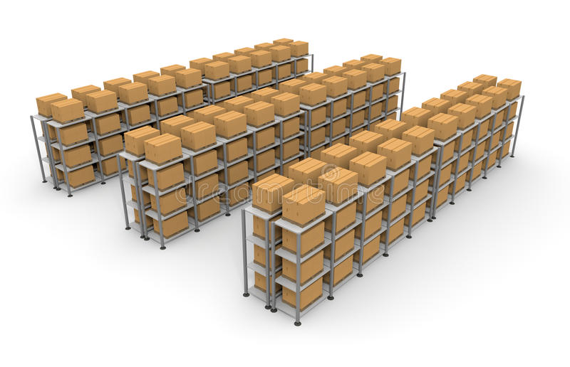 Warehouse Cardboard Luggage. Luggage in a warehouse. A lot of cardboard boxes. Pile of luggage. Huge warehouse. Facing a large stock. Waiting for baggage stock illustration