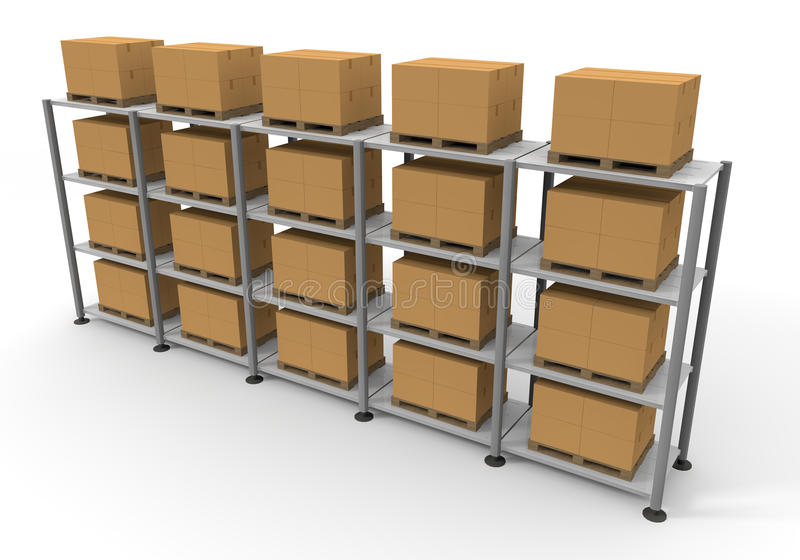 Warehouse Cardboard Luggage. Luggage in a warehouse. A lot of cardboard boxes. Pile of luggage. Huge warehouse. Facing a large stock. Waiting for baggage vector illustration