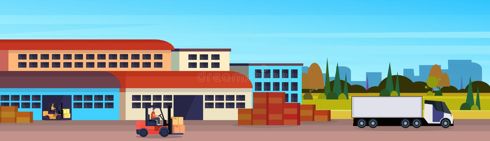 Warehouse cargo forklift loading semi truck logistics delivery transportation concept international shipping cityscape. Flat horizontal banner copy space vector vector illustration