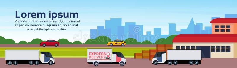 Warehouse cargo minivan logistics loading delivery transportation concept international shipping cityscape flat. Horizontal banner copy space vector royalty free illustration