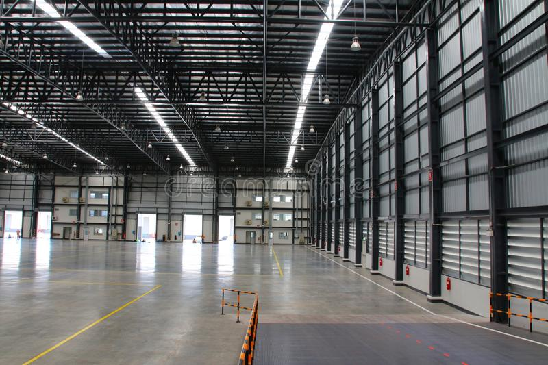 A warehouse is a commercial building for storage of goods. Warehouses are used by manufacturers, importers, exporters, wholesalers, transport businesses royalty free stock image