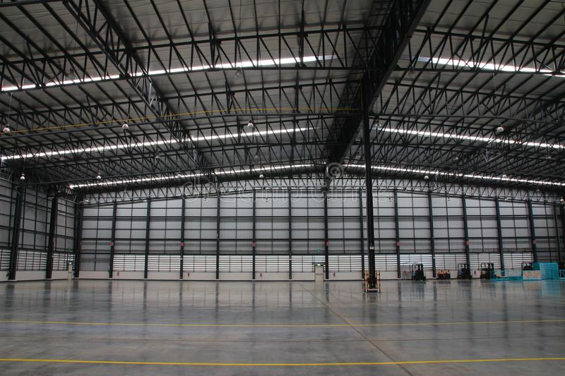 A warehouse is a commercial building for storage of goods. Warehouses are used by manufacturers, importers, exporters, wholesalers, transport businesses royalty free stock photo