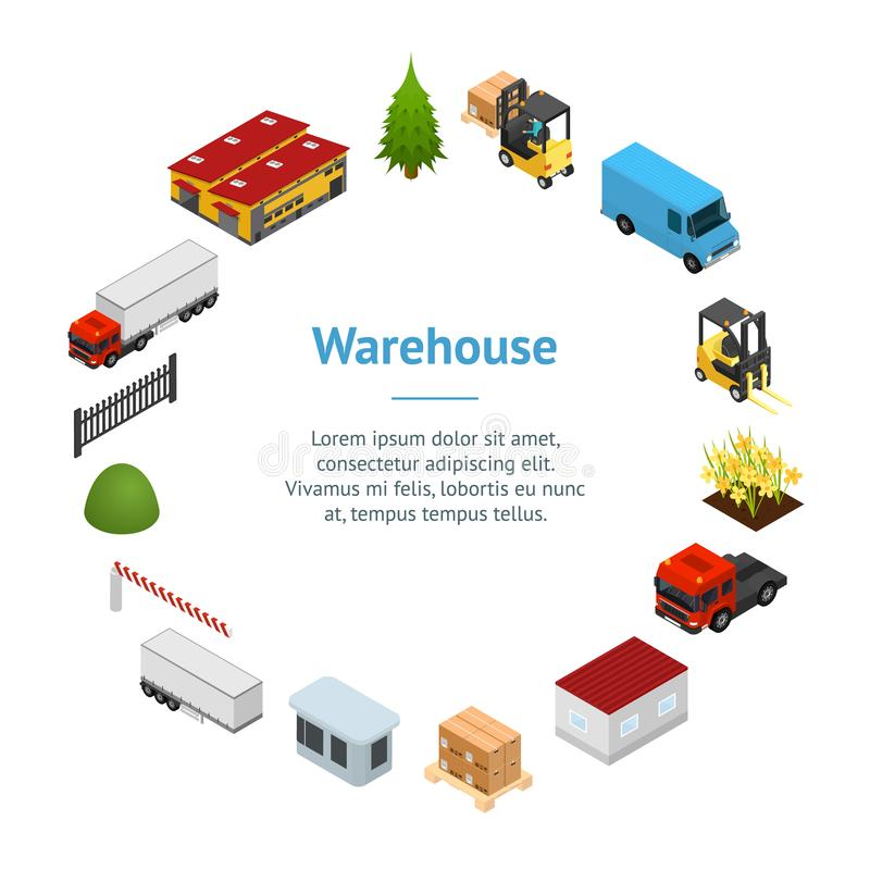 Warehouse Concept Banner Card Circle 3d Isometric View. Vector stock illustration