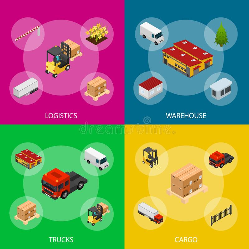 Warehouse Concept Banner Set 3d Isometric View. Vector stock illustration