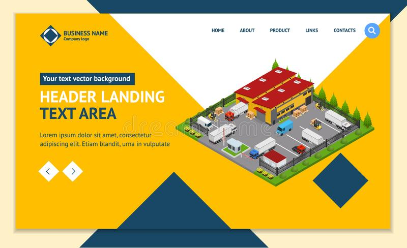 Warehouse Concept Landing Web Page Template 3d Isometric View. Vector royalty free illustration