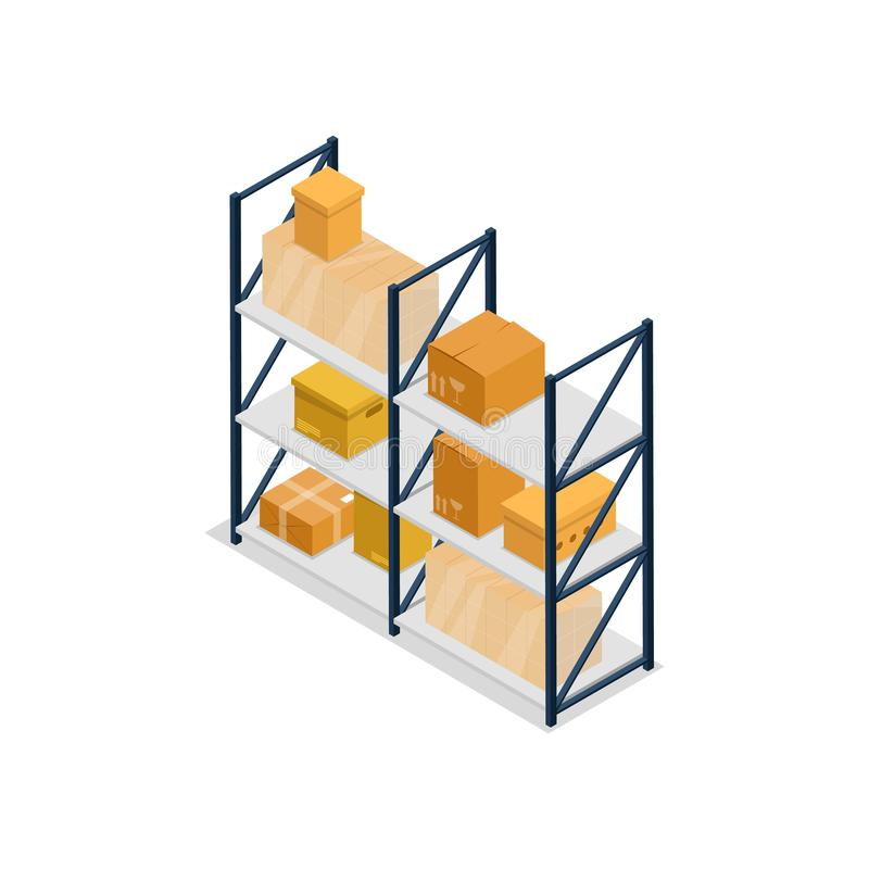 Warehouse deja de lado el icono isométrico del elemento interior ilustración del vector