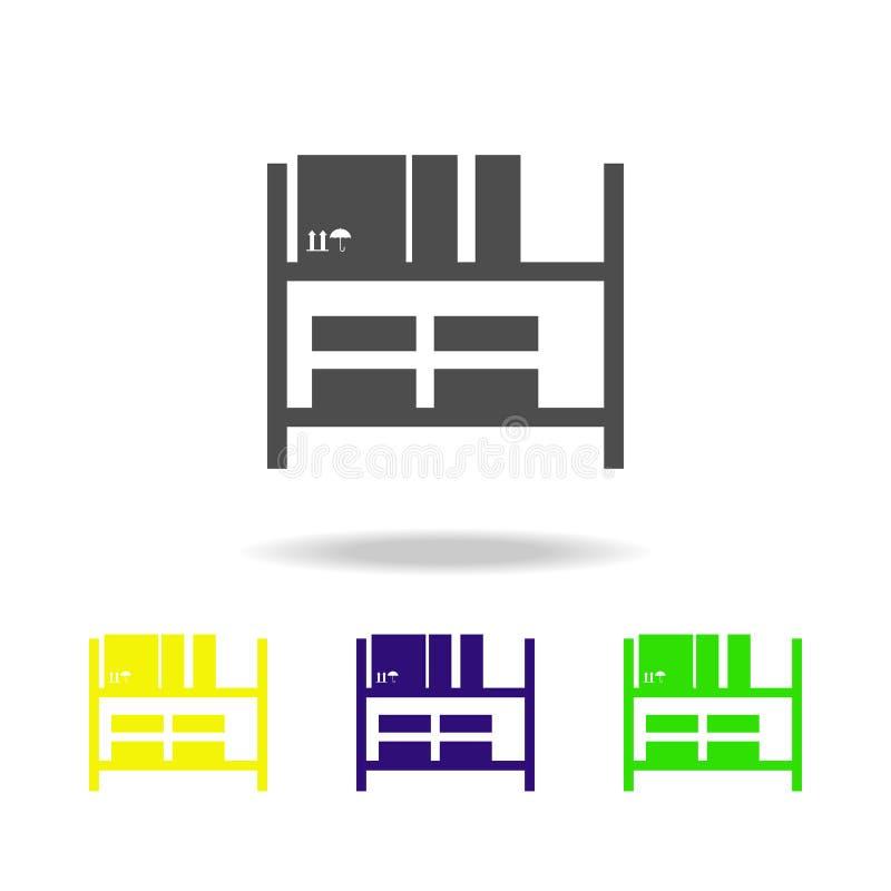 Warehouse deja de lado iconos multicolores Muestras e icono para los sitios web, diseño web, app móvil de la colección de los sím ilustración del vector