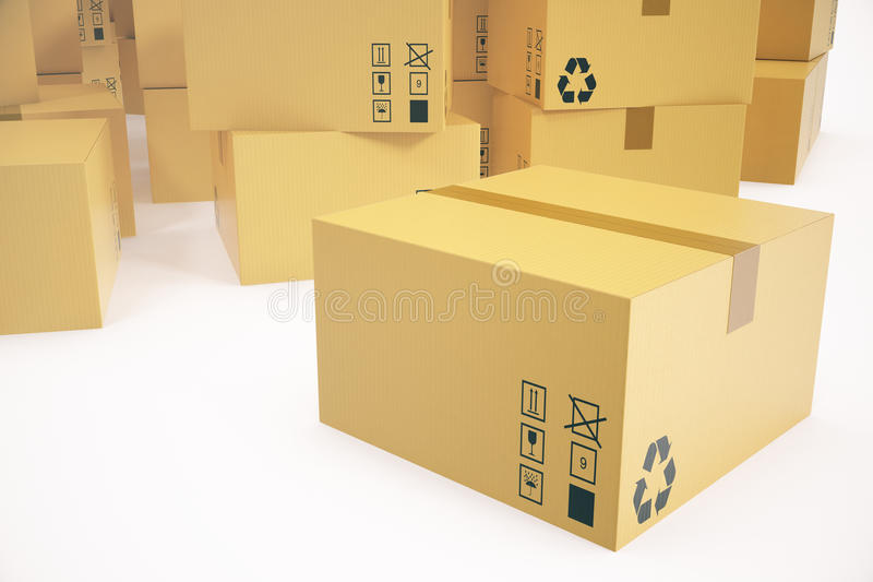 Warehouse or delivery concept background. Heap of cardboard delivery boxes or parcels. 3d rendering royalty free illustration