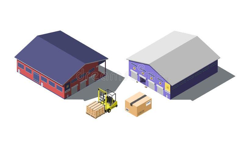 Warehouse den byggande isometriska uppsättningen med gaffeltrucken och kartonger som isoleras på vit royaltyfri illustrationer