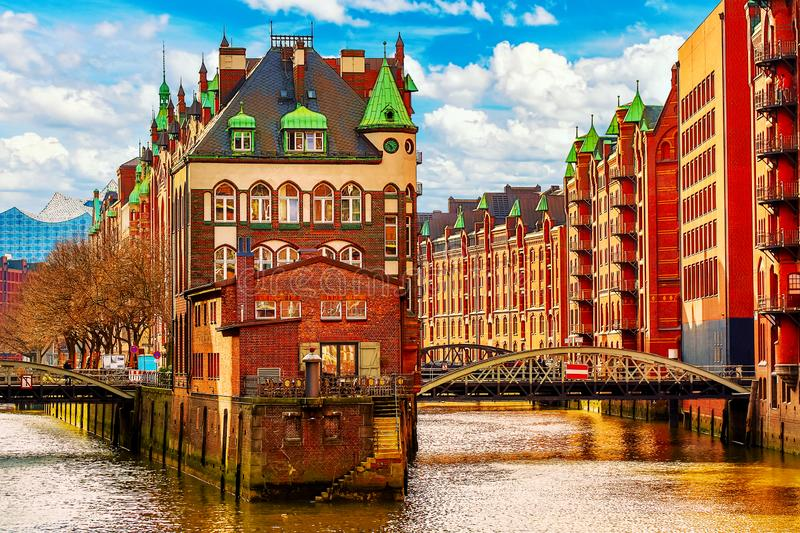 The Warehouse district Speicherstadt during spring in Hamburg, Germany. Warehouses in Hafencity quarter in Hamburg royalty free stock photography