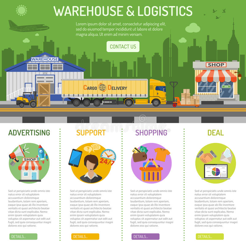 Warehouse e infographics de la logística libre illustration