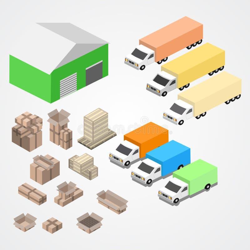Warehouse, el logisti y la fábrica, edificio del almacén, almacenan exterior ilustración del vector