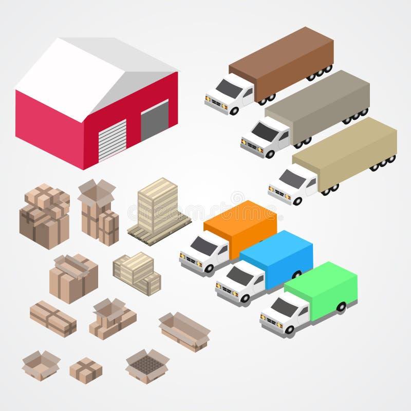 Warehouse, el logisti y la fábrica, edificio del almacén, almacenan exterior libre illustration