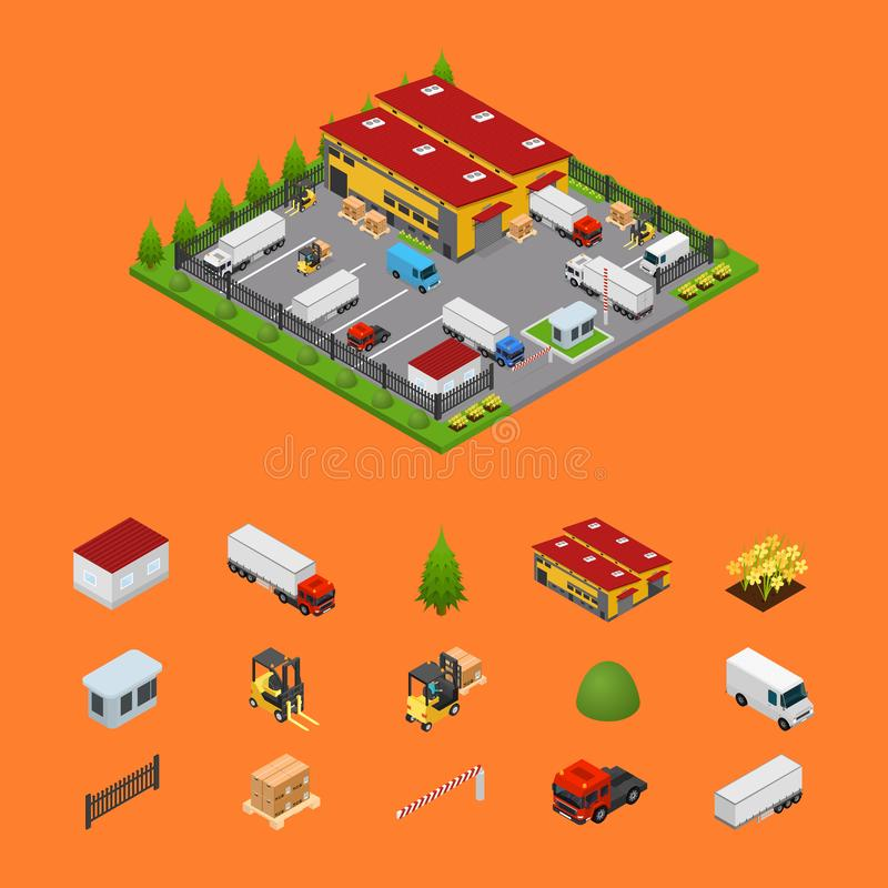 Warehouse and Elements Concept 3d Isometric View. Vector stock illustration