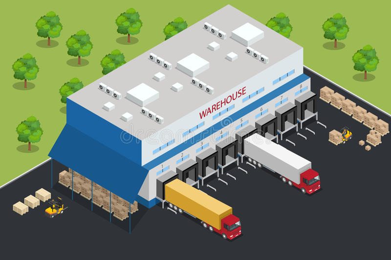 Warehouse equipment. Shipping and delivery flat elements. Workers boxes forklifts and cargo transport. Transport system stock illustration