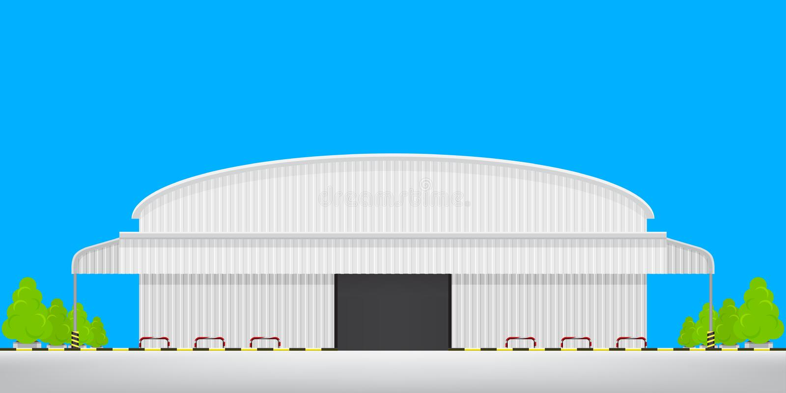 Warehouse factory front view isolated on blue, logistic storehouse of factory empty floor outside, warehouse factory building royalty free illustration
