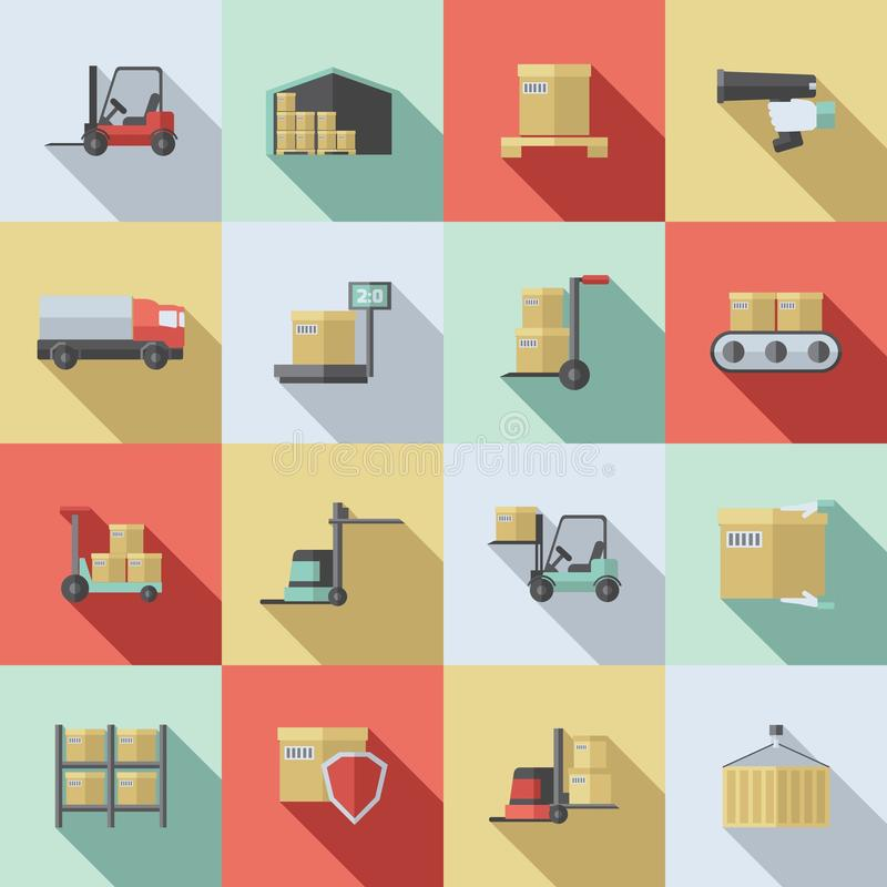 Warehouse Flat Icons Set royalty free illustration