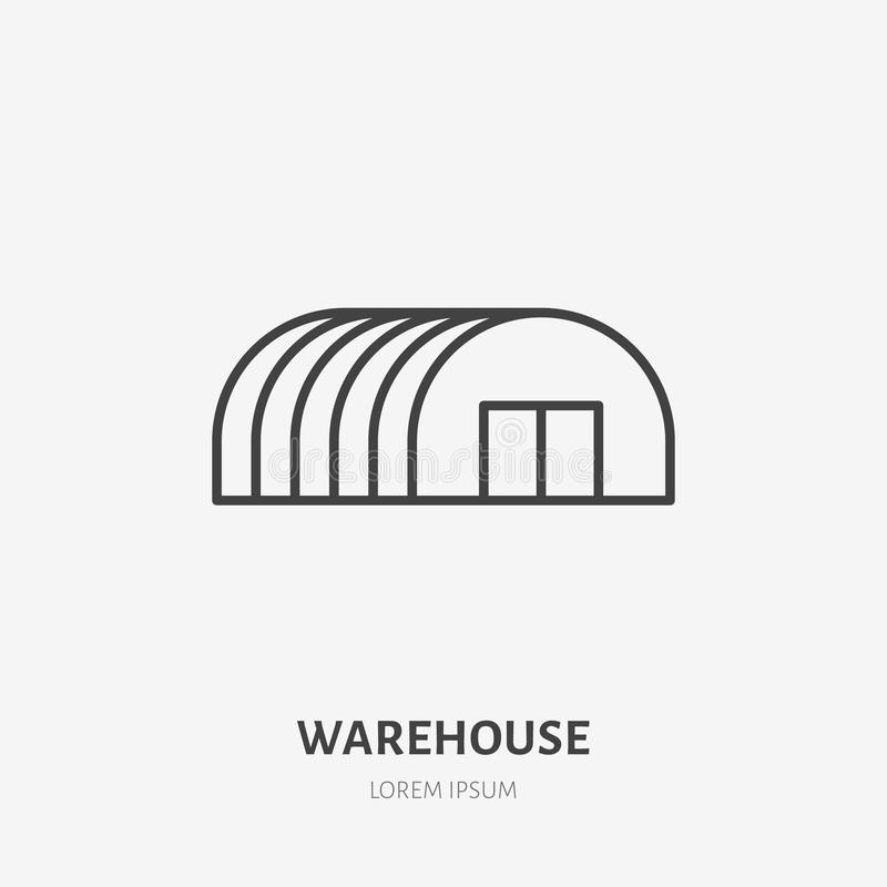 Warehouse flat line icon. Storage building, hangar sign. Thin linear logo for cargo trucking, freight services royalty free illustration