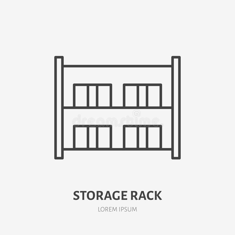 Warehouse flat line icon. Storage rack with boxes sign. Thin linear logo for cargo trucking, freight services.  royalty free illustration