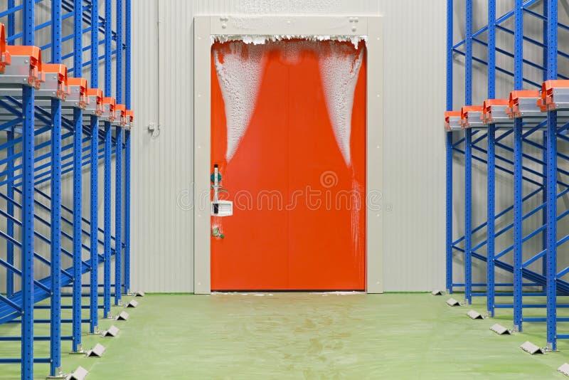 Warehouse freezer door stock images