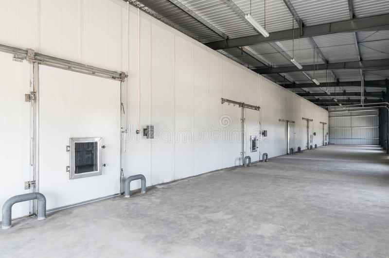 Warehouse freezer in the factory stock images